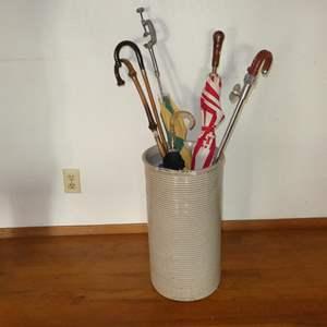 Lot # 61 - Vintage Crock, Umbrellas & Canes