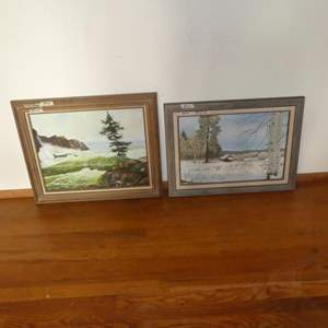 Lot # 62 - Framed Oil on Board Painting & Framed Oil on Canvas Painting - Nature Scenes