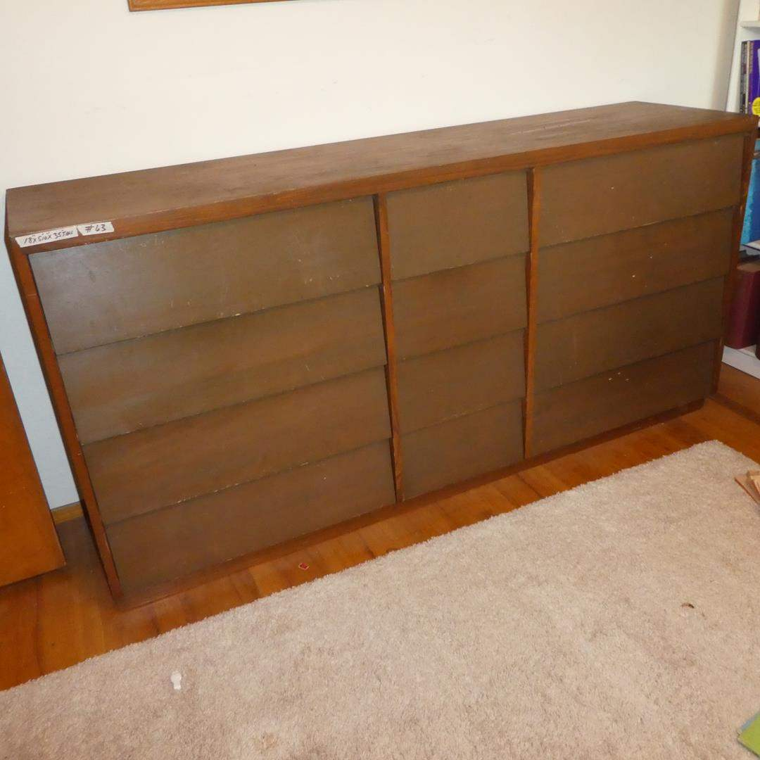 Lot # 63 - Vintage Wooden 12 Drawer Dresser (main image)