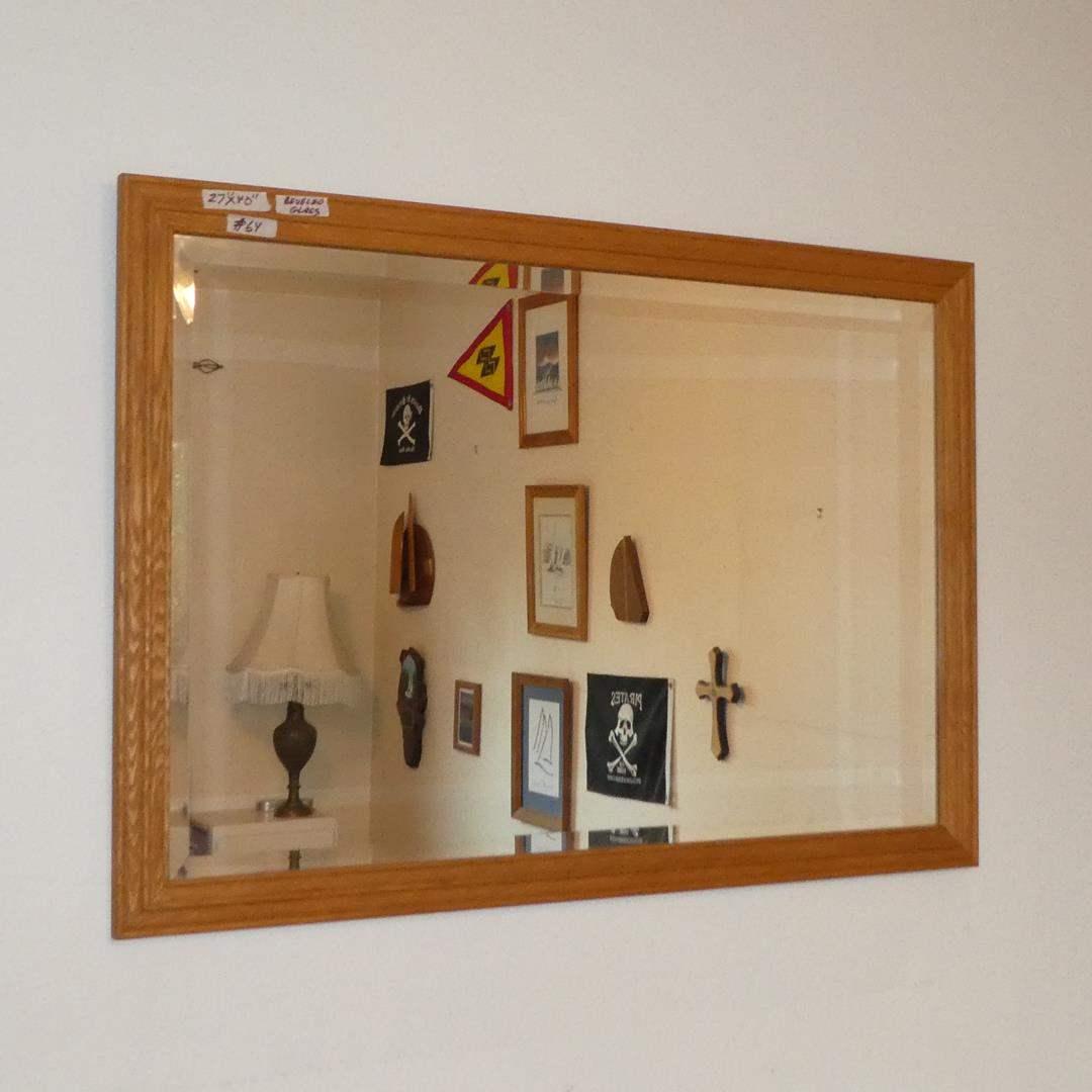 Lot # 64 - Wood Framed Beveled Glass Wall Mirror (main image)