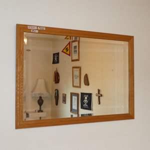 Lot # 64 - Wood Framed Beveled Glass Wall Mirror