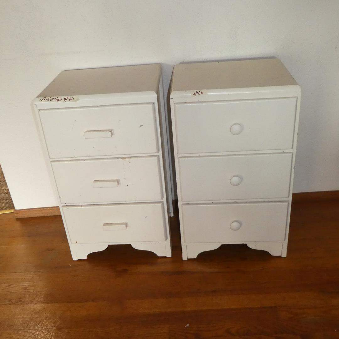 Lot # 66 - Two Vintage Painted White Three Drawer Wooden Nightstands (main image)