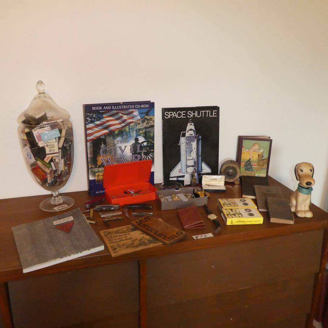 Lot # 72 - Matches Collection, Coffee Table Books, Old Bank, Oil Can, Pocket Knives, Men's Wristwatches & More (main image)