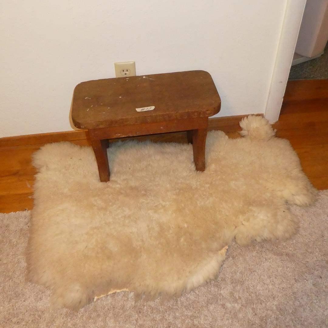 Lot # 77 - Small Vintage Wood Bench & Sheepskin Rug (main image)