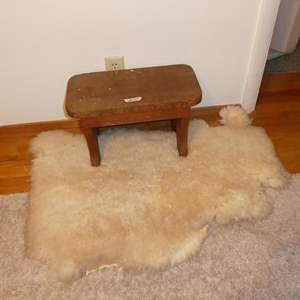 Lot # 77 - Small Vintage Wood Bench & Sheepskin Rug