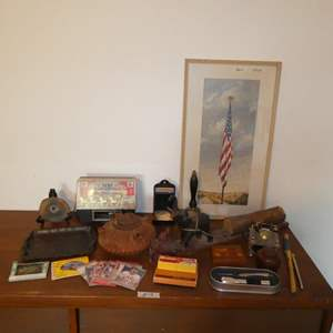 Lot # 78 - Metal Embossed Tray, Budweiser Light, Le Tournage, Figurines, Old Thermometers, Old Glory Flag Print & More
