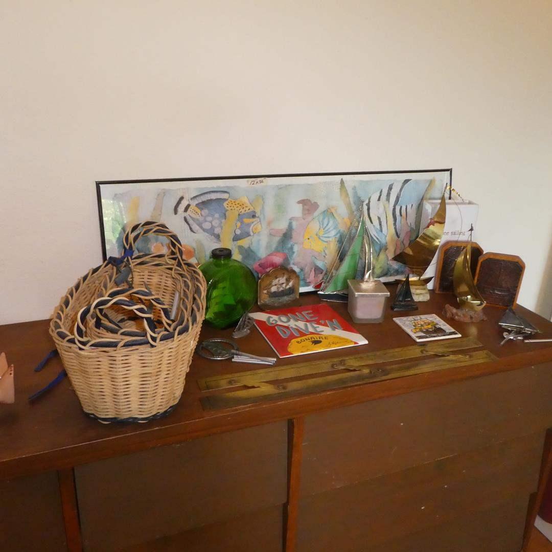 Lot # 79 - Antique/Vintage Nautical Instrument, Sailboat Sculptures, Bookends, Baskets & Framed Fish Print (main image)