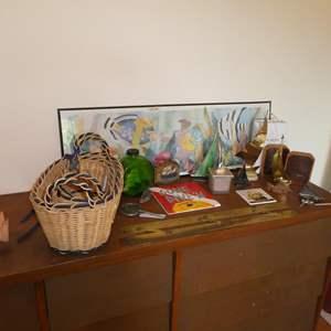 Lot # 79 - Antique/Vintage Nautical Instrument, Sailboat Sculptures, Bookends, Baskets & Framed Fish Print
