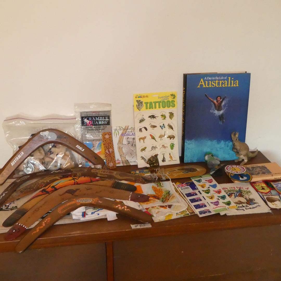 Lot # 80 - Boomerangs, Aboriginal Bullroarer, Koalas, Australia Book, Linens & More (main image)