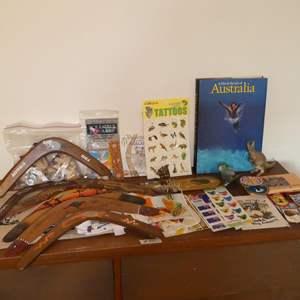 Lot # 80 - Boomerangs, Aboriginal Bullroarer, Koalas, Australia Book, Linens & More