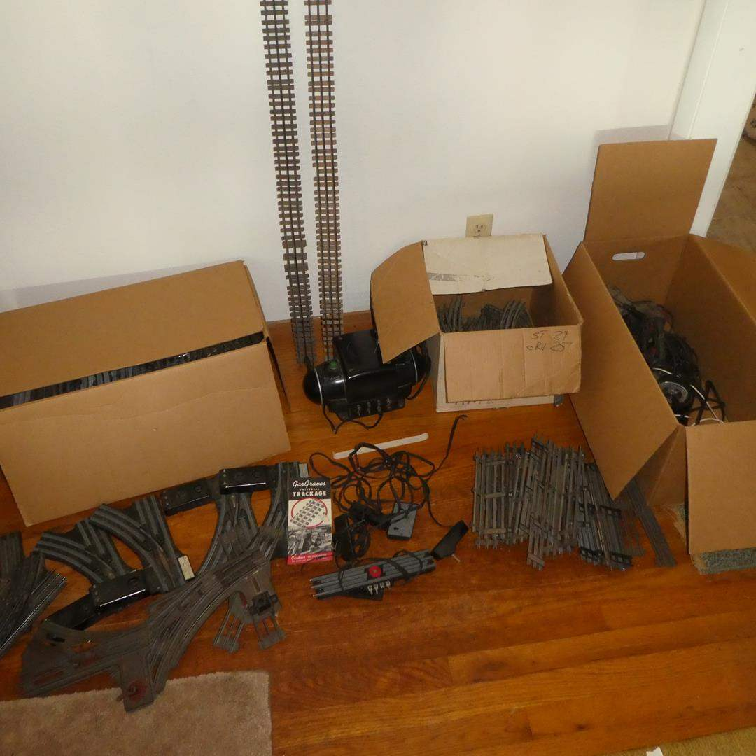 Lot # 82 - Vintage O Gauge Transformer, Track & Switches (75 Straight Pieces of Track & 65 Curved Pieces) (main image)