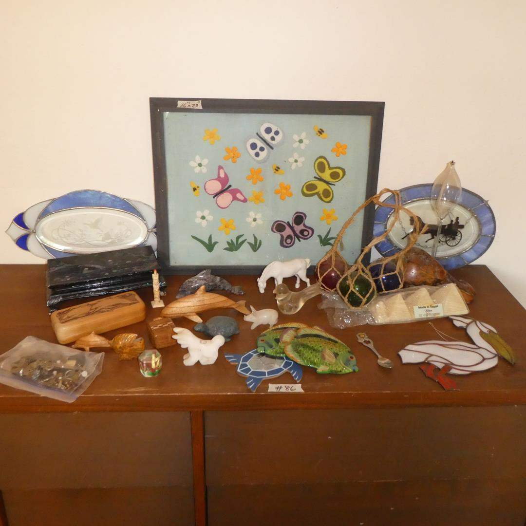 Lot # 86 - Vintage Oriental Inlay Display Stand, Music Box Dancer, Old Keys, Figurines & Stained Glass (main image)