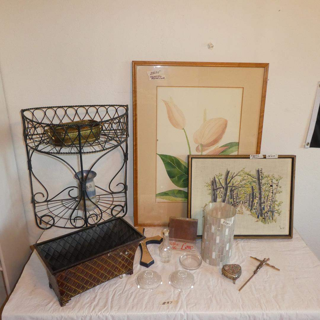 Lot # 87 - Planter Box, Metal Storage Shelf, Signed Pottery Match Holder, Glass Vase, Needlepoint Picture & Watercolor Picture (main image)