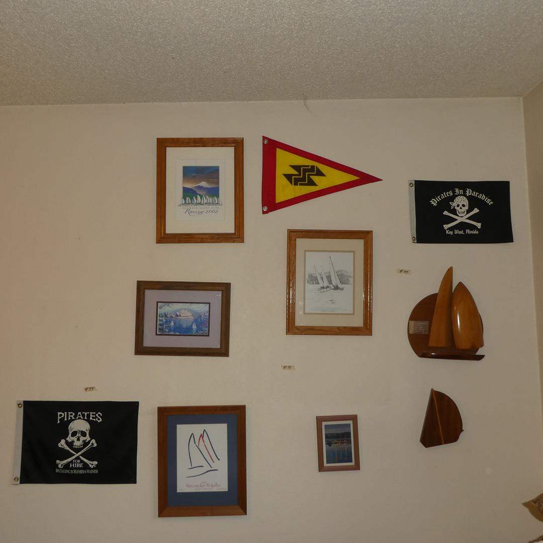 Lot # 89 - Pirate Flags, Sailboat Prints & Trophy (main image)