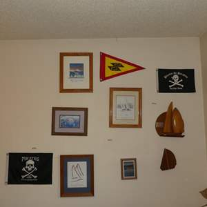 Lot # 89 - Pirate Flags, Sailboat Prints & Trophy