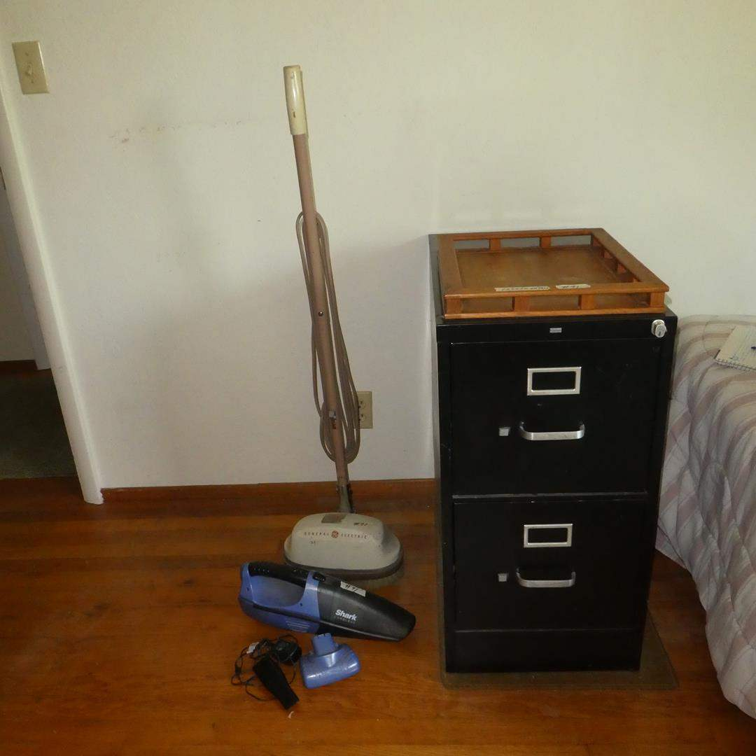 Lot # 91 - Two Drawer Metal Filing Cabinet, General Electric Floor Polisher & Shark Cordless Hand Vac (main image)