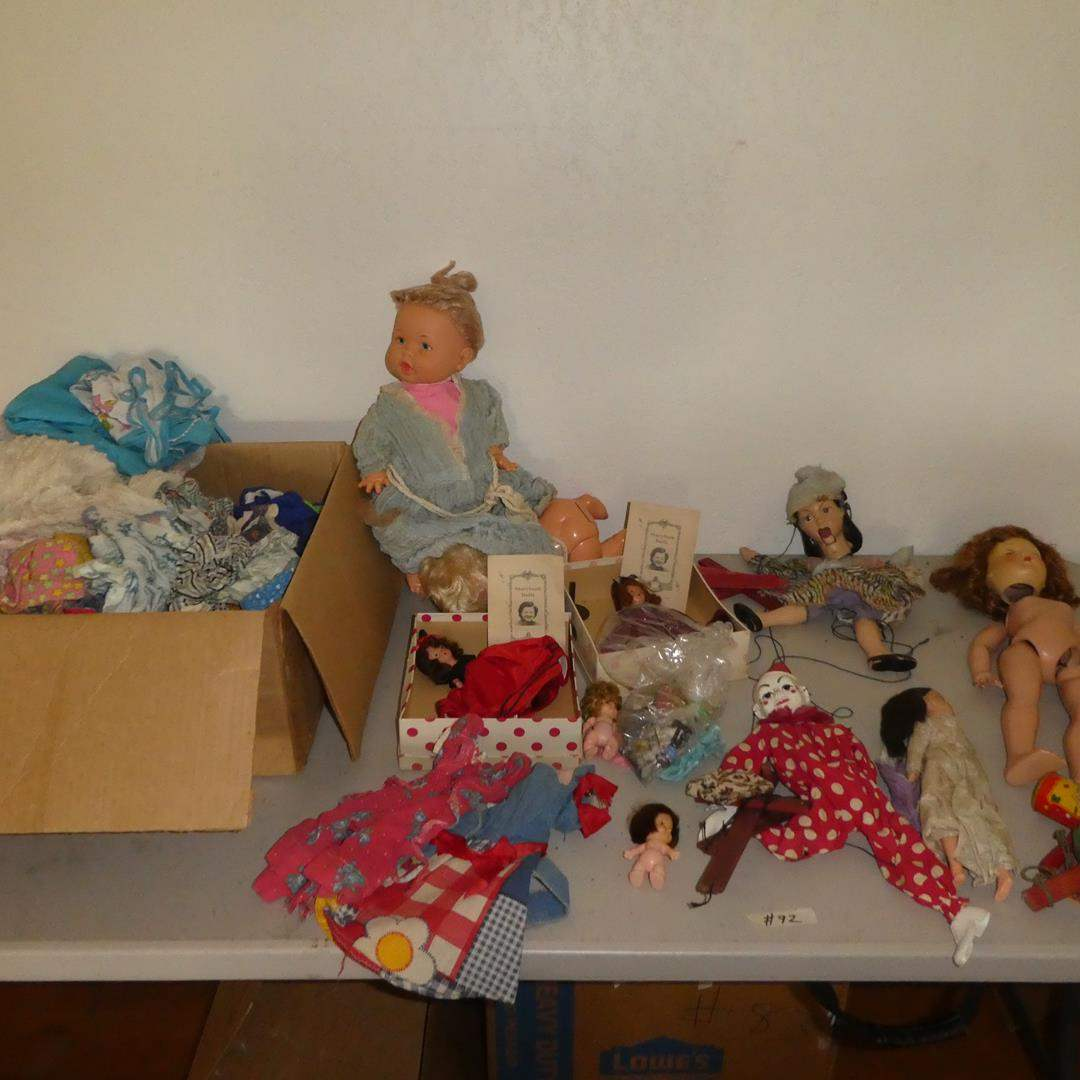 Lot # 92 - Vintage Dolls & Clothes - See Pics For Condition (main image)