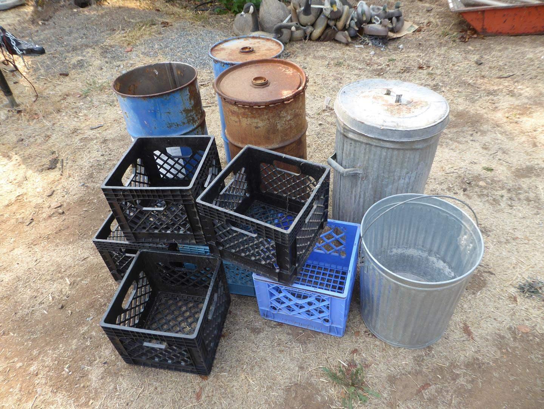 Lot # 250 - Trash Cans, Oil Barrels & Crates (main image)