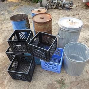Lot # 250 - Trash Cans, Oil Barrels & Crates