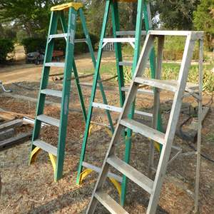 Lot # 251 - Three Ladders - Two 6' & One 5'