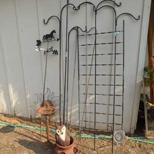 Lot # 252 - Plant Hangers, Horse Weathervane, Cast Iron Birdbath & Garden Decor