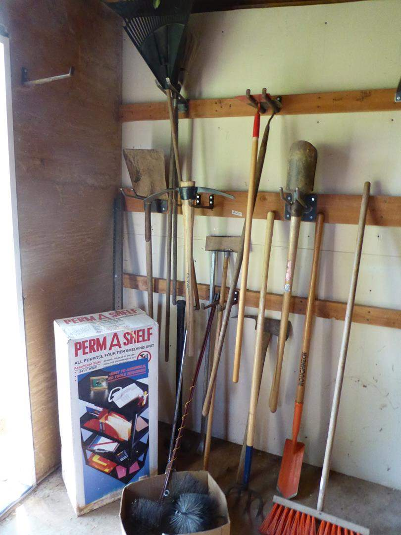 Lot # 264 - Perm A Shelf 4 Tier Shelving Unit & Yard Tools (main image)