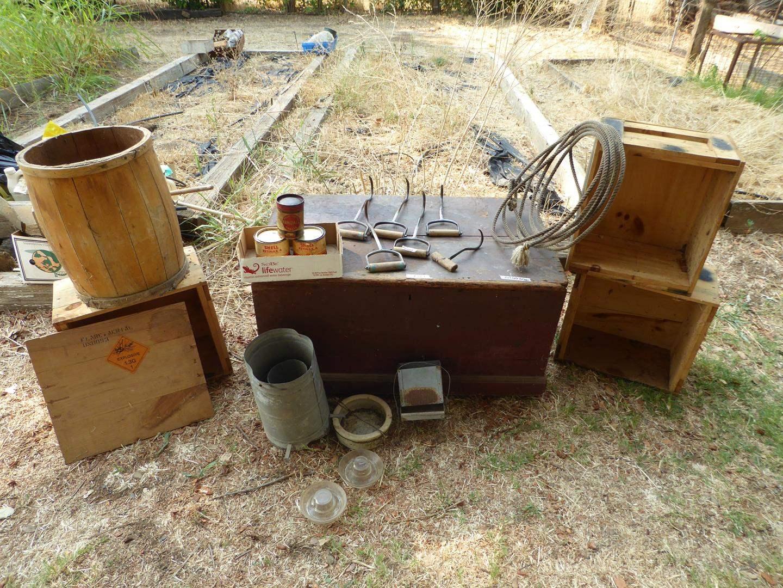 Lot # 269 - Vintage Hay Hooks, Lasso, Wooden Box, Barrel & Crates (main image)