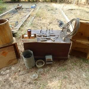 Lot # 269 - Vintage Hay Hooks, Lasso, Wooden Box, Barrel & Crates