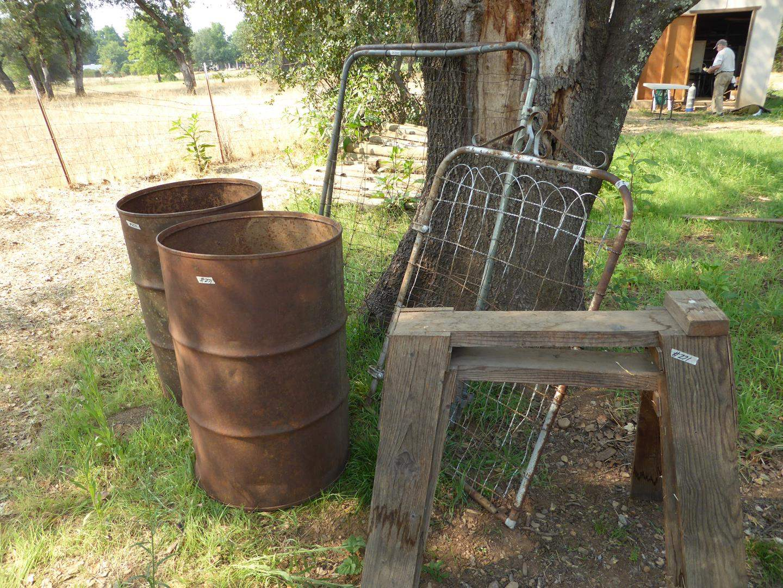 Lot # 271 - Old Oil Drums, Sawhorses & Vintage Metal Gates (main image)