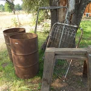 Lot # 271 - Old Oil Drums, Sawhorses & Vintage Metal Gates