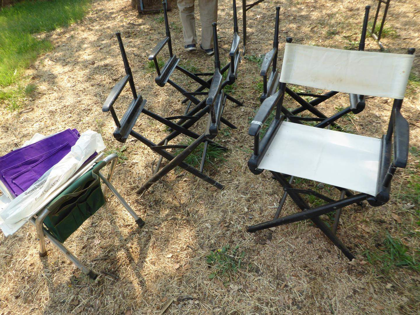 Lot # 276 - Folding Directors Chairs & Extra Fabric (main image)