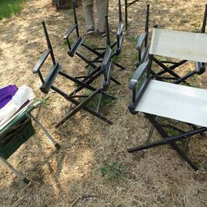 Lot # 276 - Folding Directors Chairs & Extra Fabric