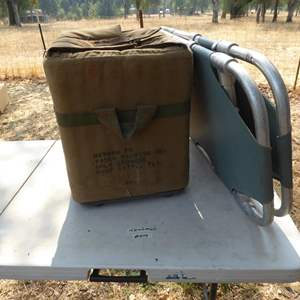 Lot # 279 - Vintage Military Ice Chest & Stretcher