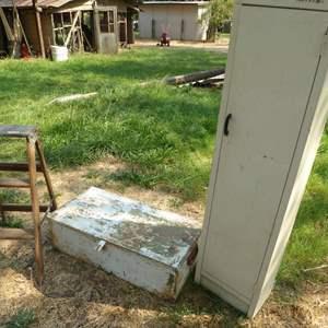 Lot # 281 - Old Metal Storage Box, Wooden Step Ladder & Storage Cabinet