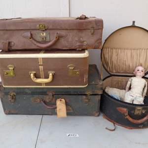Lot # 283 - Antique Doll & Cases