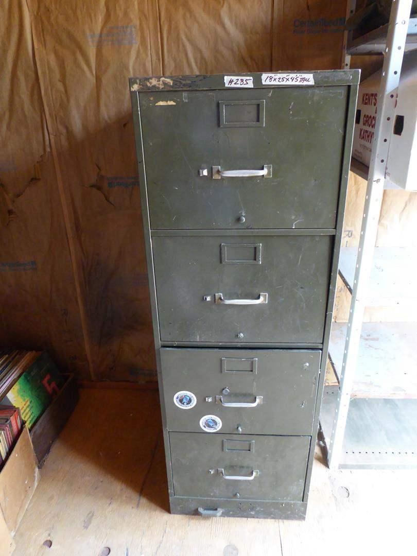 Lot # 285 - Metal 4 Drawer Filing Cabinet (main image)