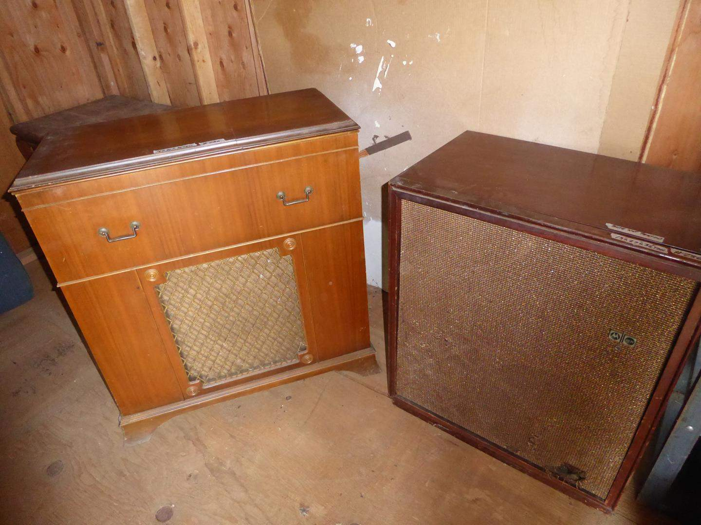 Lot # 286 - Vintage Motorola Golden Voice Record Player Console & Vintage Radio Record Player Console - Both Not Tested (main image)