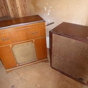 Lot # 286 - Vintage Motorola Golden Voice Record Player Console & Vintage Radio Record Player Console - Both Not Tested