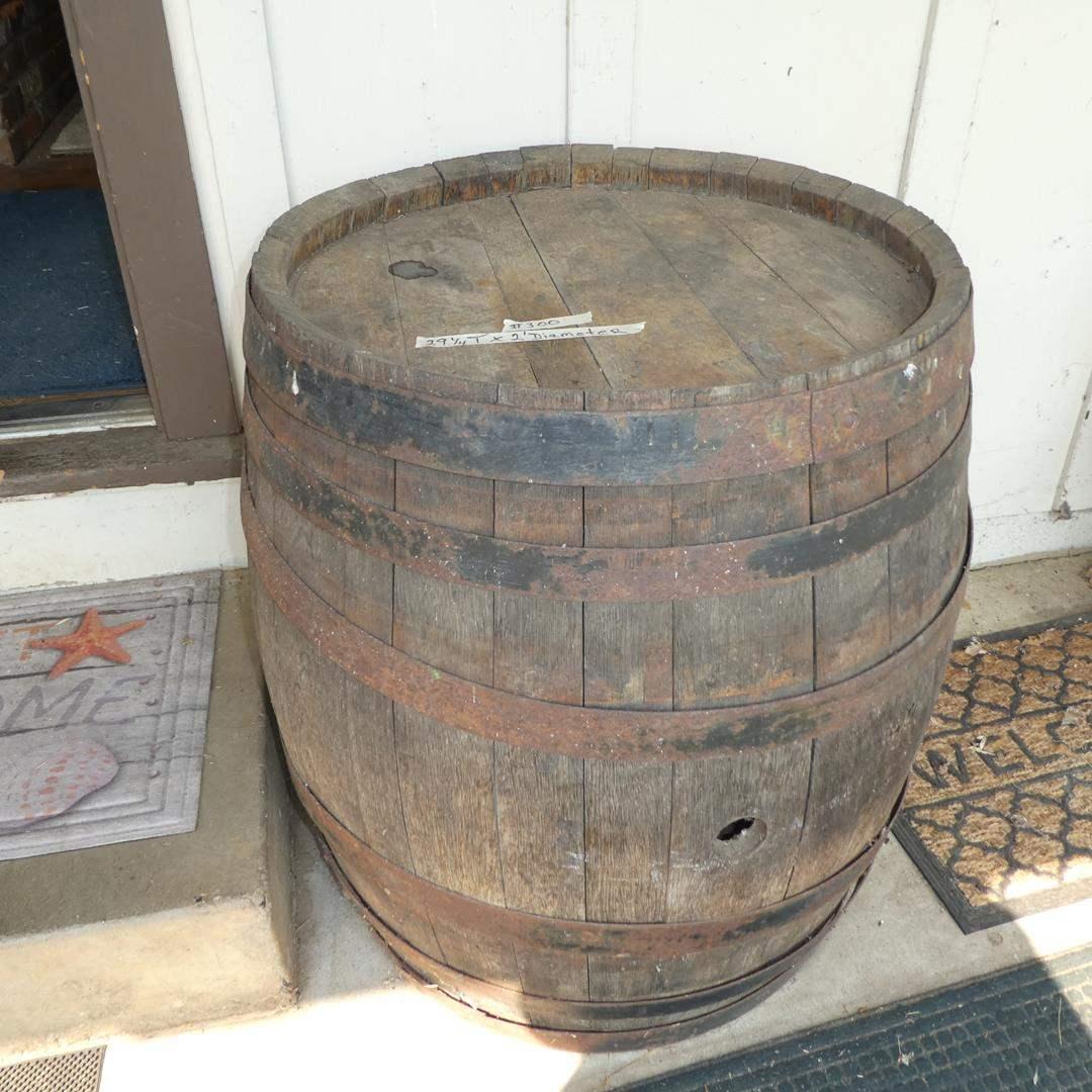 Lot # 300 - Old Rustic Wooden Wine Barrel (main image)