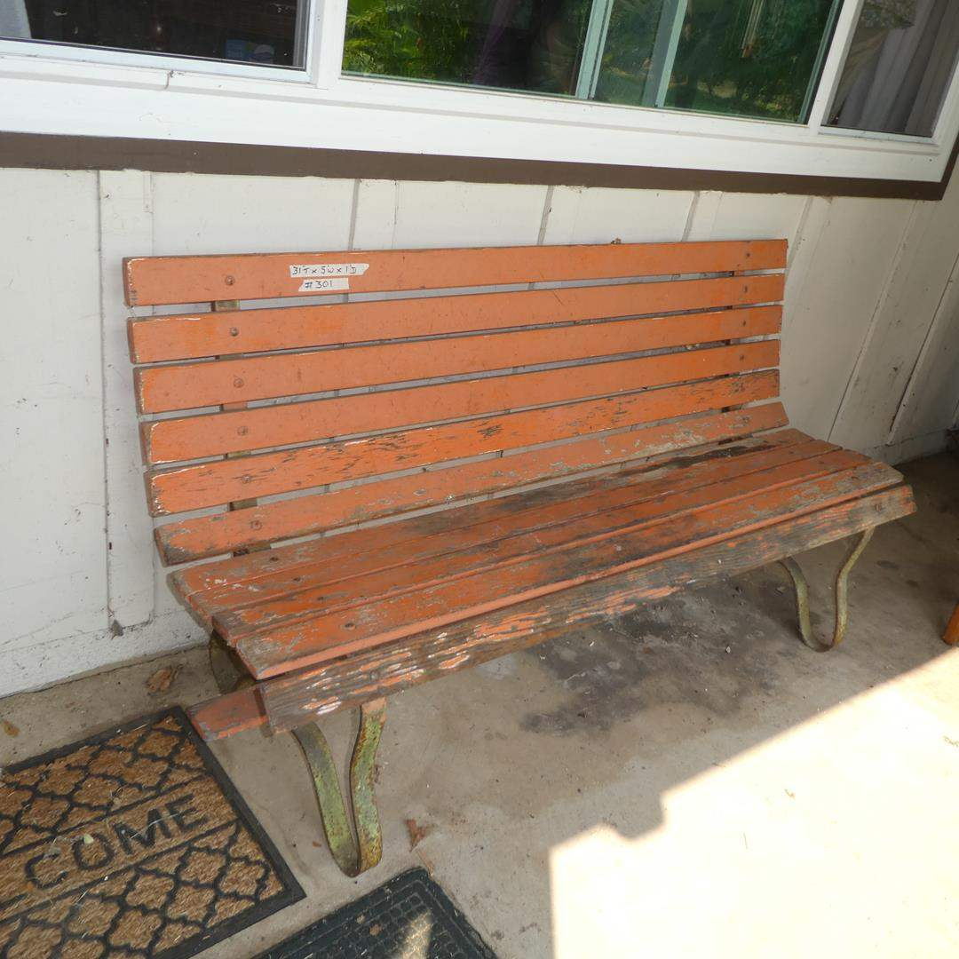 Lot # 301 - Vintage Wooden Patio Bench (main image)