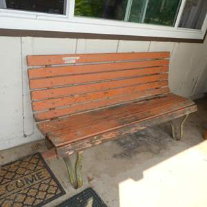 Lot # 301 - Vintage Wooden Patio Bench