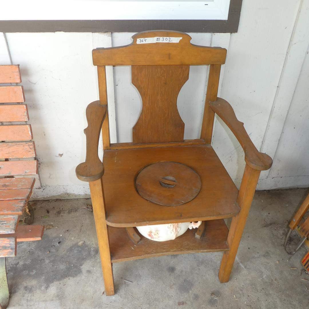 Lot # 302 - Primitive Rustic Chamber Pot Chair (main image)