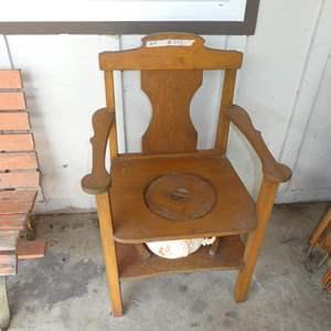 Lot # 302 - Primitive Rustic Chamber Pot Chair