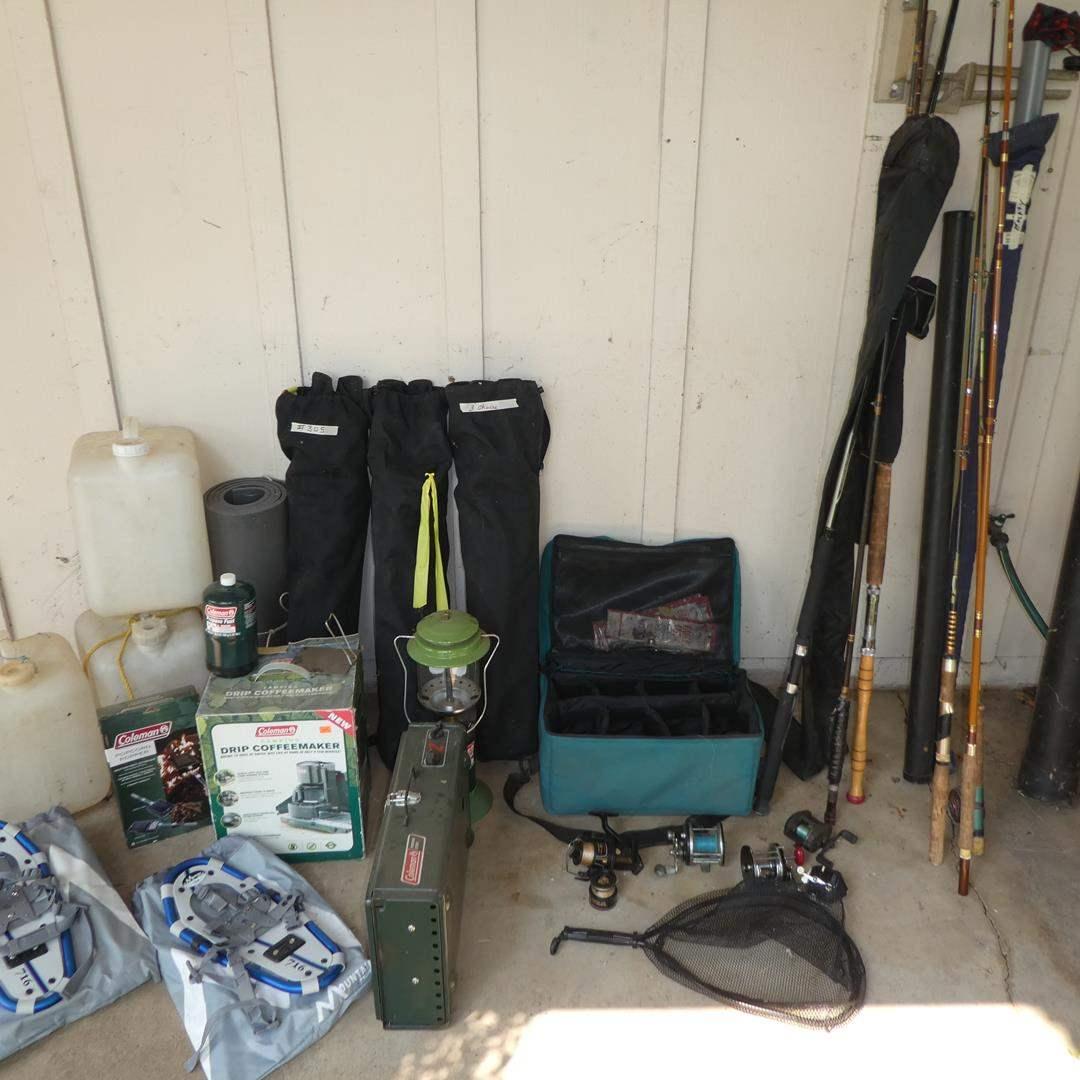 Lot # 305 - Snow Shoes, Camping Supplies, Chairs, Fishing Reels & Fishing Poles (main image)
