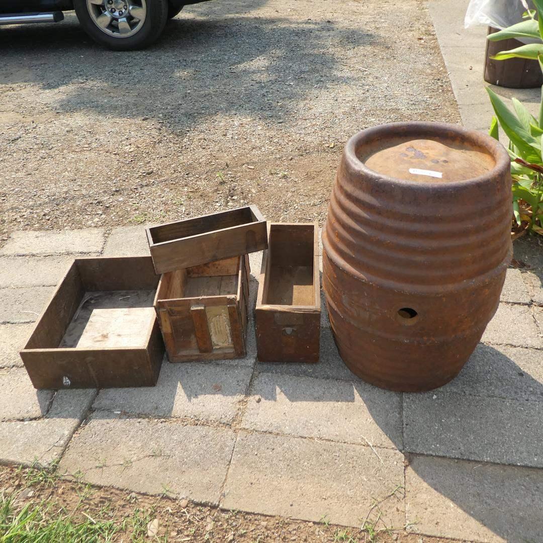 Lot # 306 - Old Metal Keg & Wooden Boxes (main image)