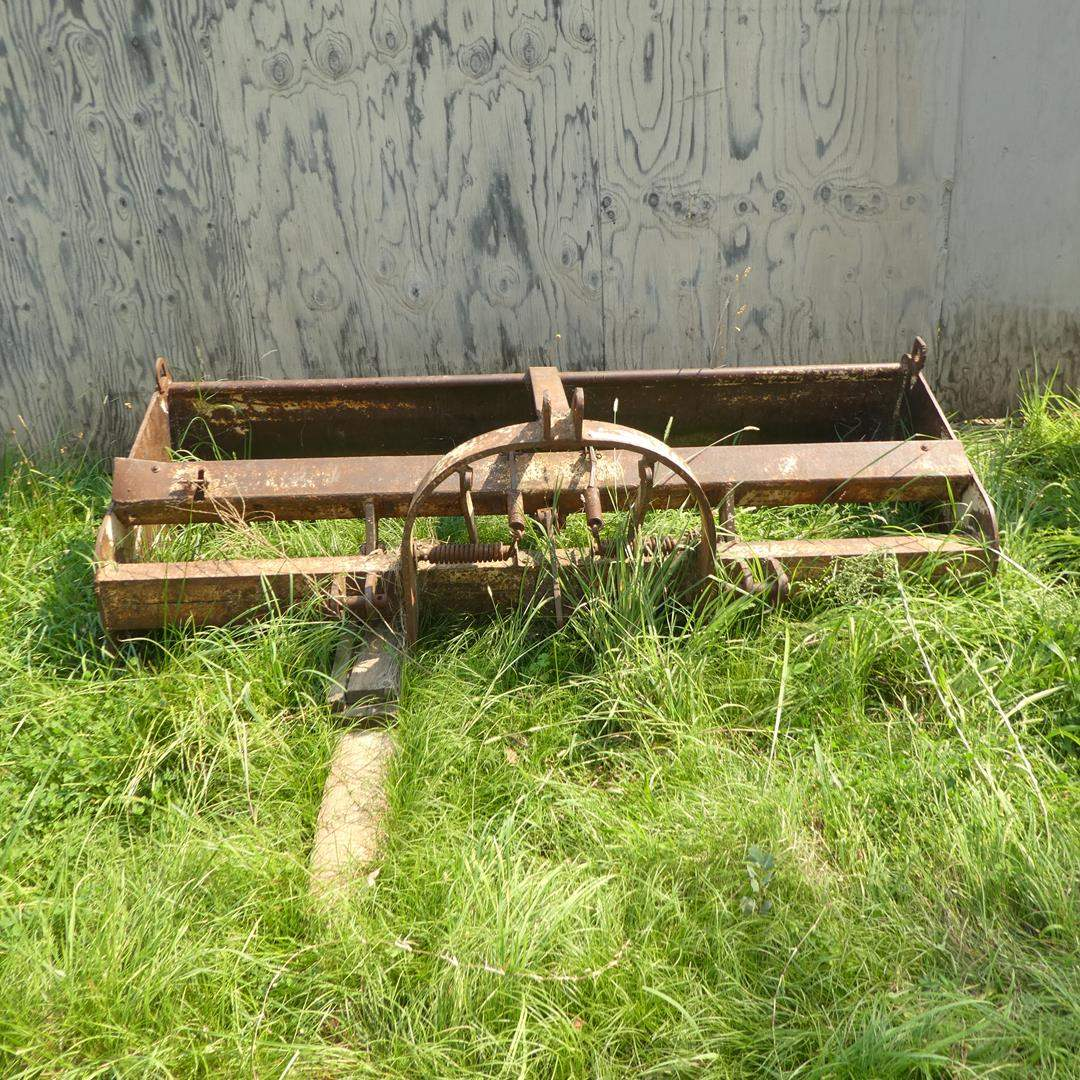 Lot # 309 - Old Box Scraper & 3 Point Hitch Tooth Ripper - Must Bring Own Help To Load (main image)