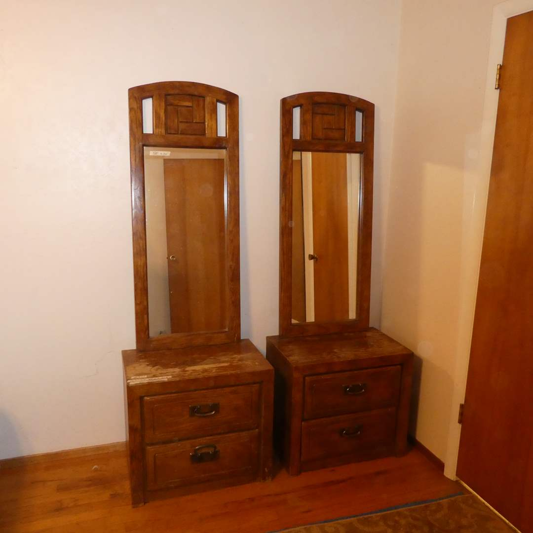 Lot # 1 -  Matching Night Stands Wth Mirrors And Headboard (main image)