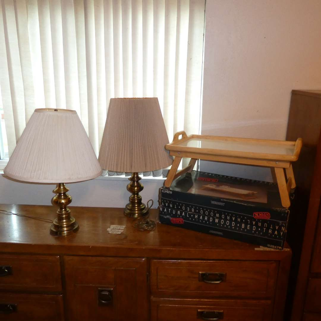 Lot # 4 - Two Dinner Trays And Two Brass Table Lamps (main image)
