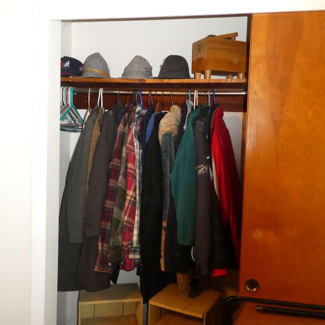 Lot # 5 - Mostly Mens Coats/Jackets, Womens Hats, And A Shoe Polishing Set (main image)