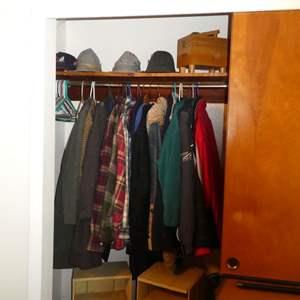 Lot # 5 - Mostly Mens Coats/Jackets, Womens Hats, And A Shoe Polishing Set